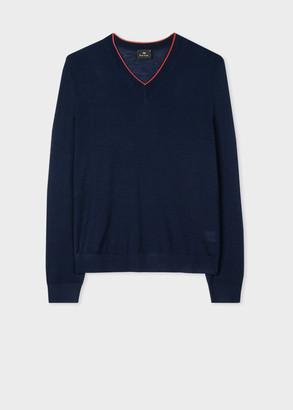 Men's Navy Merino Wool-Blend V-Neck Sweater