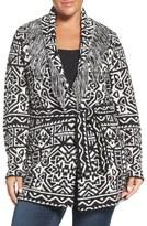 Foxcroft Belted Fringe Shawl Collar Cardigan (Plus Size)