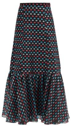 Erdem Claudena High-rise Polka-dot Organza Midi Skirt - Multi