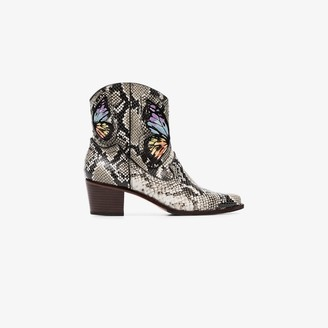 Sophia Webster grey Shelby 50 snake effect ankle boots