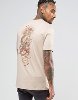 Criminal Damage T-Shirt With Dragon Back Print