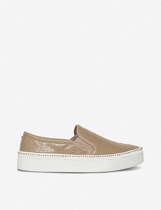 Dune Esha snakeskin-embossed faux patent leather trainers