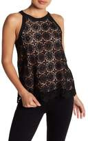 Halogen Lace Overlay Halter Tank (Petite Size Available)