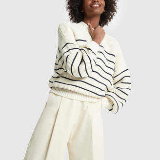Alex Mill Back-Button Striped Sweater