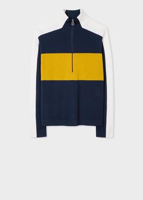 Paul Smith Women's Dark Navy Colour-Block Half-Zip Wool Sweater