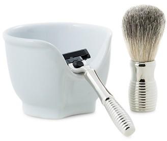 Bey-Berk 3-Piece Mach3 Razor, Badger Brush Porcelain Soap Dish Set