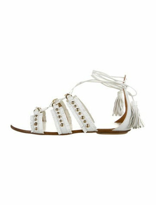 Aquazzura Leather Studded Accents Gladiator Sandals White