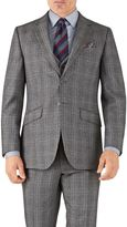 Charles Tyrwhitt Silver Prince Of Wales Slim Fit Flannel Business Suit Wool Jacket Size 36