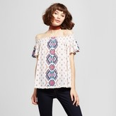 Hint of Mint Women's Printed Off the Shoulder Knit Top - Hint of Mint (Juniors') White