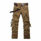 QIYUN.Z Loose Multi Pocket Cargo Long Trousers Army Combat Work Men Pants Pantalon Cargo