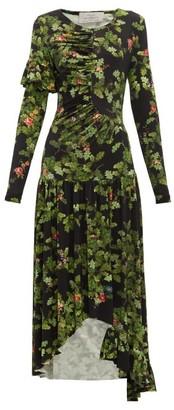 Preen by Thornton Bregazzi Ashley Oak Leaf-print Dress - Black Multi