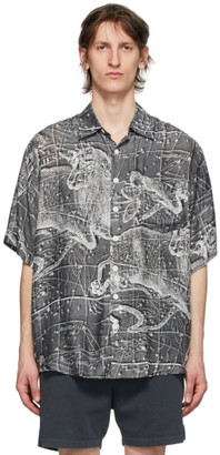 Schnaydermans Black and White Silk Zodiac Short Sleeve Shirt