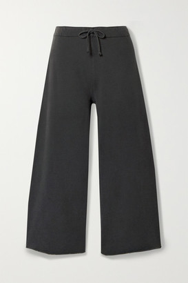 Nili Lotan Kiki Cropped Voile-trimmed Cotton-jersey Track Pants - Dark gray