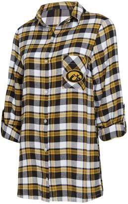 Women's Concepts Sport Black/Gold Iowa Hawkeyes Piedmont Flannel Long Sleeve Button-Up Nightshirt