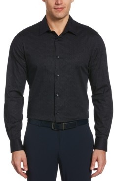 Perry Ellis Men's Ditsy Floral Print Long Sleeve Button-Down Stretch Shirt with Collar Stays