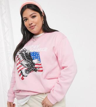 Daisy Street Plus oversized sweatshirt with american dreamer print