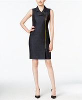 Calvin Klein Zip-Front Denim Sheath Dress