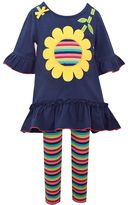 Bonnie Jean Toddler Girl Sunflower Applique Dress & Striped Leggings Set