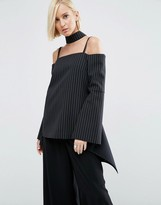 Asos Pinstripe Choker Top With Cuff Detail