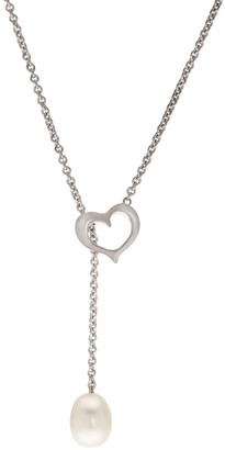 Pearlustre By Imperial PearLustre by Imperial Sterling Silver Freshwater Cultured Pearl Heart Lariat Necklace