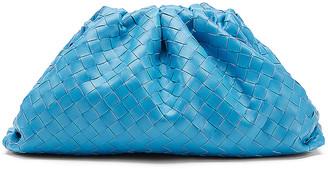 Bottega Veneta Leather Woven Pouch Clutch in Swimming Pool & Silver | FWRD