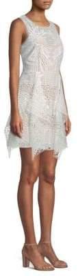 BCBGMAXAZRIA Women's Draped Lace Mini Dress - Off White - Size 6