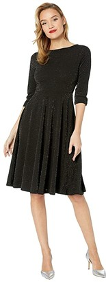 Unique Vintage 1950s Style Sparkle Sleeved Nicole Swing Dress (Black) Women's Dress