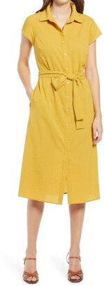 Halogen Textured Tie Waist Shirtdress