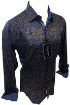 Men's Calvetti Paisley Woven Long Sleeve Button Down Dress Shirt Brown Blue 301 (XL)