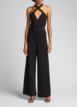 Stella McCartney Crisscross Halter Wide-Leg Jumpsuit