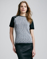 Theory Haylyn Leather-Sleeve Top