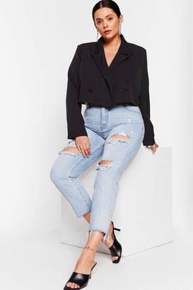 Nasty Gal Womens Shred Over Heels Plus Distressed Jeans - Blue - 22