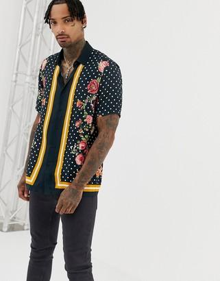 ASOS DESIGN regular fit polka dot border printed shirt with floral in viscose