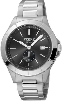 Ferré Milano Men's 43mm Stainless Steel Date Sub-Seconds Diver Watch with Bracelet, Steel/Black