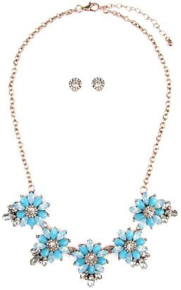 Riah Fashion Floral-Statement-Necklace & Earring-Set