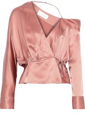 Mason by Michelle Mason One-shoulder Silk-charmeuse Wrap Blouse
