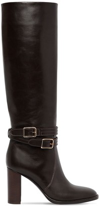 Gianvito Rossi 85mm Tall Leather Boots W/ Straps