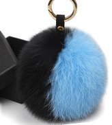 FURTALK Genuine Large Fox Fur Pompoms Mobile Strap Coppia Keychain Fox Fur Ball