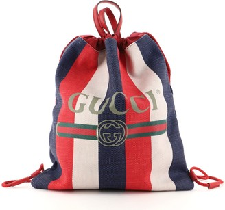 Gucci Logo Drawstring Backpack Striped Canvas Large