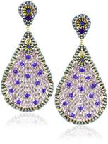 Miguel Ases Blue Quartz and Swarovski Tear Drop Earrings