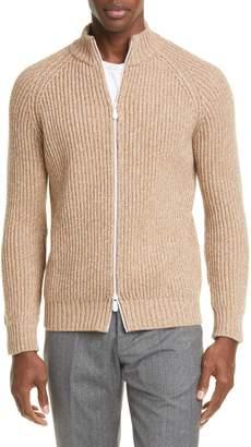 Eleventy Trim Fit Cable Knit Cashmere Zip Cardigan