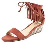 Report Mazama Women Open Toe Canvas Red Wedge Heel.