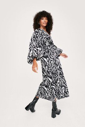 Nasty Gal Womens Zebra Print Long Sleeve Midaxi Wrap Dress - Black - 10