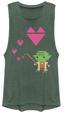 Fifth Sun Star Wars Yoda Pixel Hearts Valentine's Festival Muscle Tank