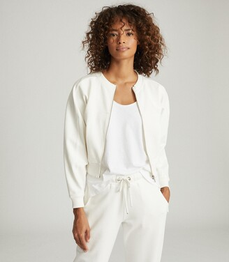 Reiss Rosalyn - Cropped Jersey Zip Through Jacket in Cream
