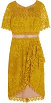 Marchesa Draped asymmetric lace dress