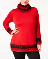 NY Collection Plus Size Jacquard Scarf Sweater