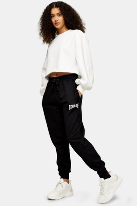 Topshop Womens Black Spliced Courage Joggers - Black