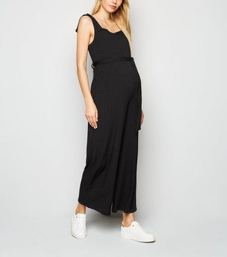 New Look Maternity Ribbed Wide Leg Jumpsuit