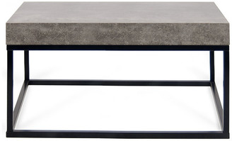 "Temahome Tema Home Petra 30""x30"" Coffee Table 145042-PETRA30, Faux Concrete Top/Black Leg"